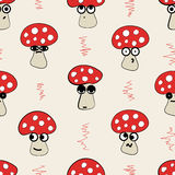 Seamless emotional fly agarics Royalty Free Stock Images