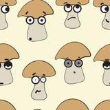 Seamless emotional mushrooms Royalty Free Stock Photo