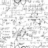 Seamless endless pattern background with handwritten mathematical formulas Stock Images