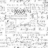 Seamless endless pattern background with handwritten mathematical formulas Stock Photo