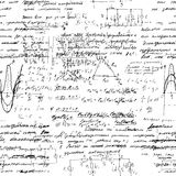 Seamless endless pattern background with handwritten mathematical formulas Royalty Free Stock Photo