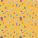 Seamless endless pattern with hand drawn ink icons for medicine and health Royalty Free Stock Images