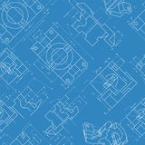 Seamless engineering background. Parts drawings Vector Royalty Free Stock Images