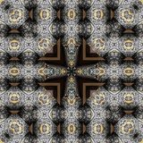 Seamless engraved metalwork pattern. Seamless engraved silver and gold inlay pattern - sacred geometry royalty free stock image