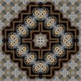 Seamless engraved metalwork pattern 013. Seamless engraved silver and gold inlay pattern - sacred geometry Stock Photo