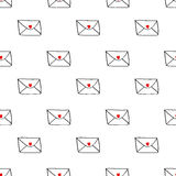 Seamless envelope with red hearts on white Royalty Free Stock Photo