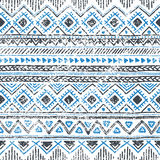 Seamless ethnic background in blue and white colors. Vector illustration. Drawing by hand Royalty Free Stock Photo