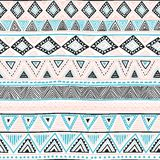 Seamless ethnic background. Geometric bright pattern. Blue, blac Stock Images