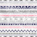 Seamless ethnic background. Geometric lines on a white background. Texture. Blue, gray, pink, black elements. Doodle Stock Photos