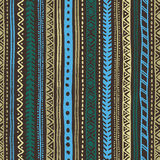 Seamless ethnic background. Geometric stripe pattern. Tribal motifs. Blue, brown, beige color Stock Image