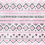 Seamless ethnic background in pink, white and black colors. Vector illustration texture Stock Images