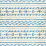 Seamless ethnic background. Vintage vector illustration. Blue stripes. Drawing by hand Royalty Free Stock Images