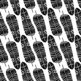 Seamless ethnic black and white feathers pattern Stock Images
