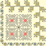 Seamless ethnic design. 3 seamless embroidered good like handmade cross-stitch ethnic pattern vector illustration