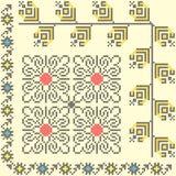 Seamless ethnic design. 3 seamless embroidered good like handmade cross-stitch ethnic pattern Vector Illustration
