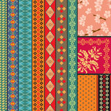 Seamless ethnic design. Various strips and backgrounds motifs colored royalty free illustration