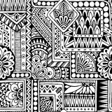Seamless ethnic  doodle black and white background Royalty Free Stock Image