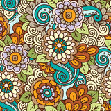Seamless ethnic floral doodle bright colored background pattern Royalty Free Stock Photography