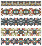 Seamless ethnic floral paisley stripe pattern,. Border set, ukrainian tribal ornament for print or embroidery ribbon, or for the design of polygraphy or web Royalty Free Stock Photo