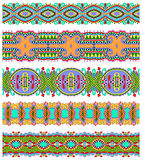 Seamless ethnic floral paisley stripe pattern. Border set, ukrainian tribal ornament for print or embroidery ribbon, or for the design of polygraphy or web Stock Photo