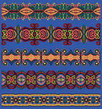Seamless ethnic floral paisley stripe pattern Stock Photo