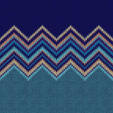 Seamless Ethnic Geometric Knitted Pattern. Style Blue Yellow Gre Stock Image