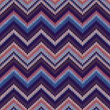 Seamless Ethnic Geometric Knitted Pattern. Style Red Pink Blue Background. Royalty Free Stock Images