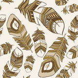 Seamless ethnic Indian feathers plumage  pattern. Vector seamless ethnic Indian feathers plumage  pattern Royalty Free Stock Images