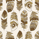 Seamless ethnic Indian feathers plumage  pattern. Vector seamless ethnic Indian feathers plumage  pattern Royalty Free Stock Image