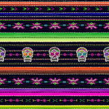 Seamless ethnic mexican fabric pattern with colorful stripes and Catrina`s skull. vector illustration