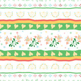 Seamless ethnic mix  tropical flower pattern with geometric lines for background. Hand drawn stripe decorated with hand painted fl. Seamless ethnic mix  meadow Royalty Free Stock Images