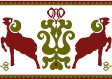 Seamless ethnic ornament with stylized aries Royalty Free Stock Image