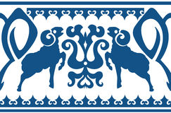 Seamless ethnic ornament with stylized aries Stock Photo