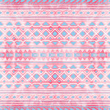 Seamless ethnic ornament. Watercolor texture. White, pink and bl Royalty Free Stock Photo