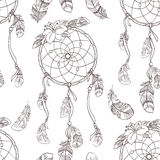 Seamless ethnic ornate dreamcatcher pattern. Seamless native background with dreamcatcher for wallpapers Stock Image