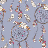 Seamless ethnic ornate dreamcatcher pattern. Seamless native background with dreamcatcher for wallpapers Royalty Free Stock Photos