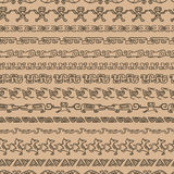Seamless ethnic pattern with archaeological ornament. Repeat straight stripes set texture background Royalty Free Stock Photography