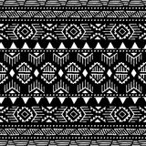 Seamless ethnic pattern. Aztec and tribal motifs. Ink geometric. Elements. Striped print for your textiles. Black and white vector illustration Stock Photography