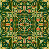 Seamless ethnic pattern background in green and orange colors. Vector illustration Stock Images