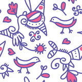 Seamless ethnic pattern with birds Stock Photography