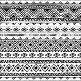 Seamless ethnic pattern. Black and white geometric ornament. Vec Stock Photo