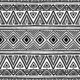 Seamless ethnic pattern. Black and white vector illustration. Drawing by hand Royalty Free Stock Image