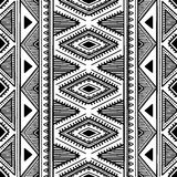 Seamless ethnic pattern. Black and white vector illustration. Stock Photo