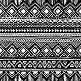 Seamless ethnic pattern. Black and white vector illustration. Drawing by hand Stock Photos