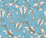 Seamless ethnic pattern brown on a blue background. Decorative o Royalty Free Stock Photo