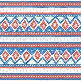 Seamless ethnic pattern. Colorful geometric vector ornament. Blue, pink and white colors. Handmade Royalty Free Stock Photos