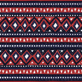 Seamless ethnic pattern. Colorful geometric vector ornament. Blue red and white colors. Handmade Royalty Free Stock Photos