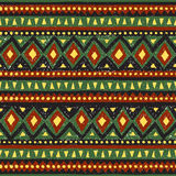 Seamless ethnic pattern. Colorful geometric vector ornament. Green, black, yellow and brown colors. Handmade Royalty Free Stock Photography