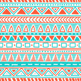 Seamless ethnic pattern. Cute geometric background. White, orang. E and blue colors. Vector illustration Royalty Free Stock Images