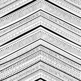 Seamless ethnic pattern drawn by hand. Black and white vector il. Lustration. Horizontal geometric strip. Zigzag Royalty Free Stock Images